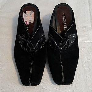 Aerosoles Black Leather Mule Heels Size 7.5M